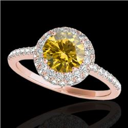2.15 CTW Certified Si Fancy Intense Yellow Diamond Solitaire Halo Ring 10K Rose Gold - REF-309X3T -