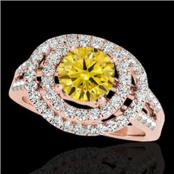 1.75 CTW Certified Si Fancy Intense Yellow Diamond Solitaire Halo Ring 10K Rose Gold - REF-200M2F -