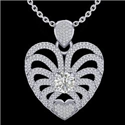 3 CTW Micro Pave VS/SI Diamond Certified Heart Necklace 14K White Gold - REF-739F2M - 20505