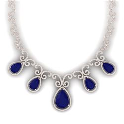 38.42 CTW Royalty Sapphire & VS Diamond Necklace 18K Rose Gold - REF-1109T3X - 39532