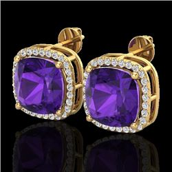 12 CTW Amethyst & Micro Pave Halo VS/SI Diamond Earrings 18K Yellow Gold - REF-88F2M - 23057