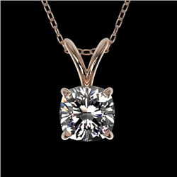 0.50 CTW Certified VS/SI Quality Cushion Cut Diamond Necklace 10K Rose Gold - REF-74R5K - 33170