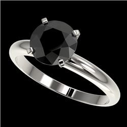 2 CTW Fancy Black VS Diamond Solitaire Engagement Ring 10K White Gold - REF-54Y2N - 32935