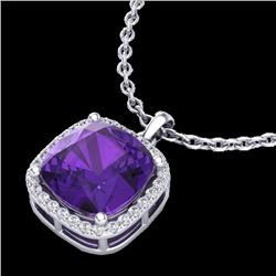 6 CTW Amethyst & Micro Pave Halo VS/SI Diamond Necklace 18K White Gold - REF-54W2H - 23073