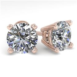 2.53 CTW Certified VS/SI Diamond Stud Earrings 14K Rose Gold - REF-674K4R - 30597