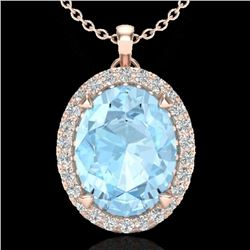 2.75 CTW Aquamarine & Micro VS/SI Diamond Halo Solitaire Necklace 14K Rose Gold - REF-54F5M - 20578