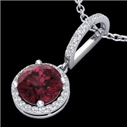 2.75 CTW Garnet & Micro Pave VS/SI Diamond Necklace Designer Halo 18K White Gold - REF-55R5K - 23197