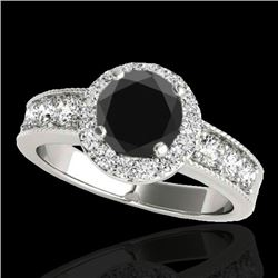 1.85 CTW Certified Vs Black Diamond Solitaire Halo Ring 10K White Gold - REF-99X3T - 34534