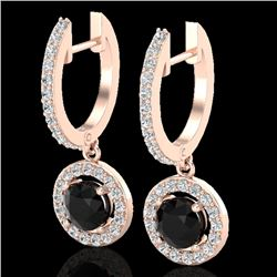 1.75 CTW Micro Pave Halo VS/SI Diamond Certified Earrings 14K Rose Gold - REF-89R3K - 23252