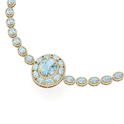 45.12 CTW Royalty Sky Topaz & VS Diamond Necklace 18K Yellow Gold - REF-836H4W - 39287