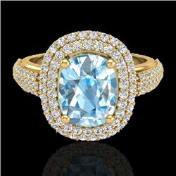 3.50 CTW Topaz & Micro Pave VS/SI Diamond Certified Halo Ring 10K Yellow Gold - REF-94R9K - 20710