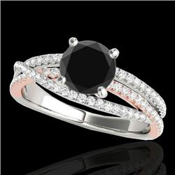 1.4 CTW Certified Vs Black Diamond Solitaire Ring Two Tone 10K White & Rose Gold - REF-73M6F - 35544