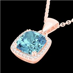 3.50 CTW Sky Blue Topaz & Micro VS/SI Diamond Halo Necklace 14K Rose Gold - REF-40N5Y - 22833