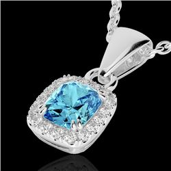 1.25 CTW Sky Blue Topaz & Micro VS/SI Diamond Certified Halo Necklace 10K White Gold - REF-27X3T - 2