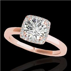 1.15 CTW H-SI/I Certified Diamond Solitaire Halo Ring 10K Rose Gold - REF-163R5K - 33401