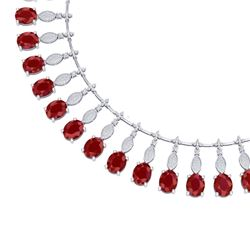 65.62 CTW Royalty Ruby & VS Diamond Necklace 18K White Gold - REF-1254T5X - 39123