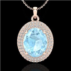 4 CTW Aquamarine & Micro Pave VS/SI Diamond Certified Necklace 14K Rose Gold - REF-121W3H - 20553