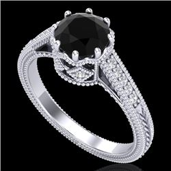 1.25 CTW Fancy Black Diamond Solitaire Engagement Art Deco Ring 18K White Gold - REF-100T2X - 37520