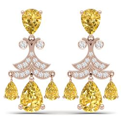 10.41 CTW Royalty Canary Citrine & VS Diamond Earrings 18K Rose Gold - REF-130R2K - 38728