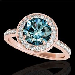 1.5 CTW SI Certified Fancy Blue Diamond Solitaire Halo Ring 10K Rose Gold - REF-129F5M - 34384