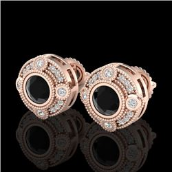 1.5 CTW Fancy Black Diamond Solitaire Art Deco Stud Earrings 18K Rose Gold - REF-116F4M - 37696