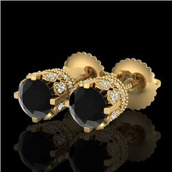 1.75 CTW Fancy Black Diamond Solitaire Art Deco Stud Earrings 18K Yellow Gold - REF-109X3T - 37354