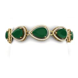 42.47 CTW Royalty Emerald & VS Diamond Bracelet 18K Yellow Gold - REF-654X5T - 39557