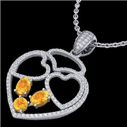 3 CTW Citrine & Micro Pave Designer Inspired Heart Necklace 14K White Gold - REF-117Y8N - 22536