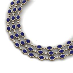 85.81 CTW Royalty Sapphire & VS Diamond Necklace 18K Yellow Gold - REF-1618W2H - 38948
