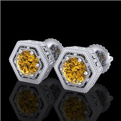 1.07 CTW Intense Fancy Yellow Diamond Art Deco Stud Earrings 18K White Gold - REF-131K8R - 37511