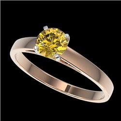 0.75 CTW Certified Intense Yellow SI Diamond Solitaire Engagement Ring 10K Rose Gold - REF-112Y2N -
