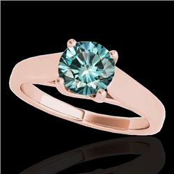 1 CTW SI Certified Fancy Blue Diamond Solitaire Ring 10K Rose Gold - REF-138F2M - 35531