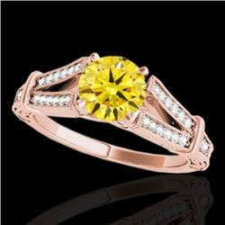 1.25 CTW Certified Si Intense Yellow Diamond Solitaire Antique Ring 10K Rose Gold - REF-172R8K - 346