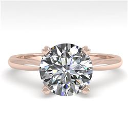 2 CTW Certified VS/SI Diamond Engagement Ring 18K Rose Gold - REF-931F3M - 32441