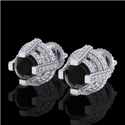 2.75 CTW Fancy Black Diamond Solitaire Micro Pave Stud Earrings 18K White Gold - REF-180X2T - 37625