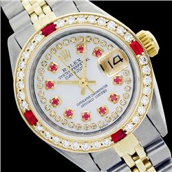 Rolex Men's Two Tone 14K Gold/SS, QuickSet, Diam/Ruby Dial & Diam/Ruby Bezel - REF-490N9F