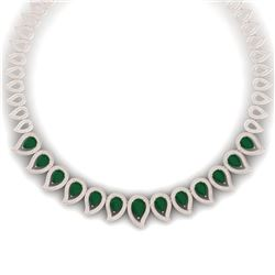 33.4 CTW Royalty Emerald & VS Diamond Necklace 18K Rose Gold - REF-1236Y4N - 39436