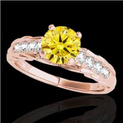 1.2 CTW Certified Si Fancy Intense Yellow Diamond Solitaire Ring 10K Rose Gold - REF-158M2F - 34942