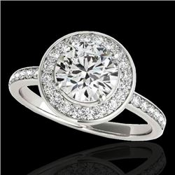 1.5 CTW H-SI/I Certified Diamond Solitaire Halo Ring 10K White Gold - REF-171X8T - 34378