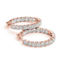 8 CTW Diamond VS/SI Certified 23 Mm Hoop Earrings 14K Rose Gold - REF-936R8K - 29024