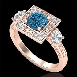 1.55 CTW Intense Blue Diamond Solitaire Art Deco 3 Stone Ring 18K Rose Gold - REF-178X2T - 38175
