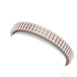 12 CTW Certified SI/I Diamond Bracelet 18K Rose Gold - REF-620K5R - 39942