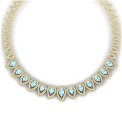 34.96 CTW Royalty Sky Topaz & VS Diamond Necklace 18K Yellow Gold - REF-1145W5H - 39446
