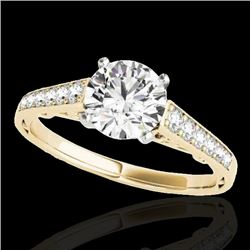 1.35 CTW H-SI/I Certified Diamond Solitaire Ring 10K Yellow Gold - REF-156K4R - 34909