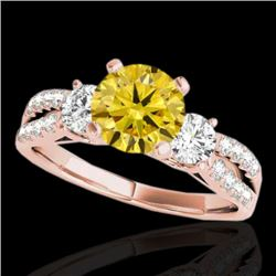 1.75 CTW Certified Si Fancy Intense Yellow Diamond 3 Stone Ring 10K Rose Gold - REF-216N4Y - 35420