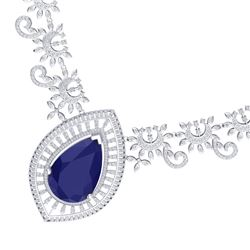65.75 CTW Royalty Sapphire & VS Diamond Necklace 18K White Gold - REF-1436M4F - 39780