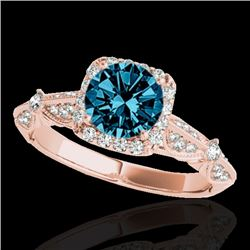 1.36 CTW SI Certified Fancy Blue Diamond Solitaire Halo Ring 10K Rose Gold - REF-161M8F - 33757