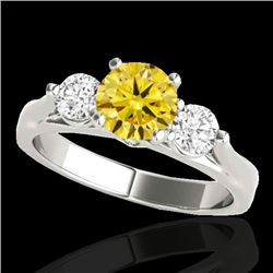 1.5 CTW Certified Si Fancy Intense Yellow Diamond 3 Stone Ring 10K White Gold - REF-180X2T - 35374