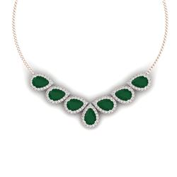 34.72 CTW Royalty Emerald & VS Diamond Necklace 18K Rose Gold - REF-690W9H - 38827