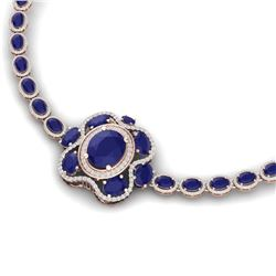 47.43 CTW Royalty Sapphire & VS Diamond Necklace 18K Rose Gold - REF-927X3T - 39334